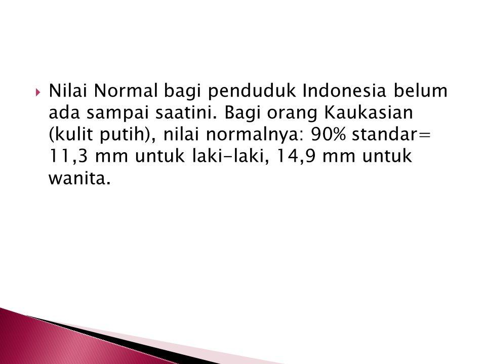  Nilai Normal bagi penduduk Indonesia belum ada sampai saatini. Bagi orang Kaukasian (kulit putih), nilai normalnya: 90% standar= 11,3 mm untuk laki-