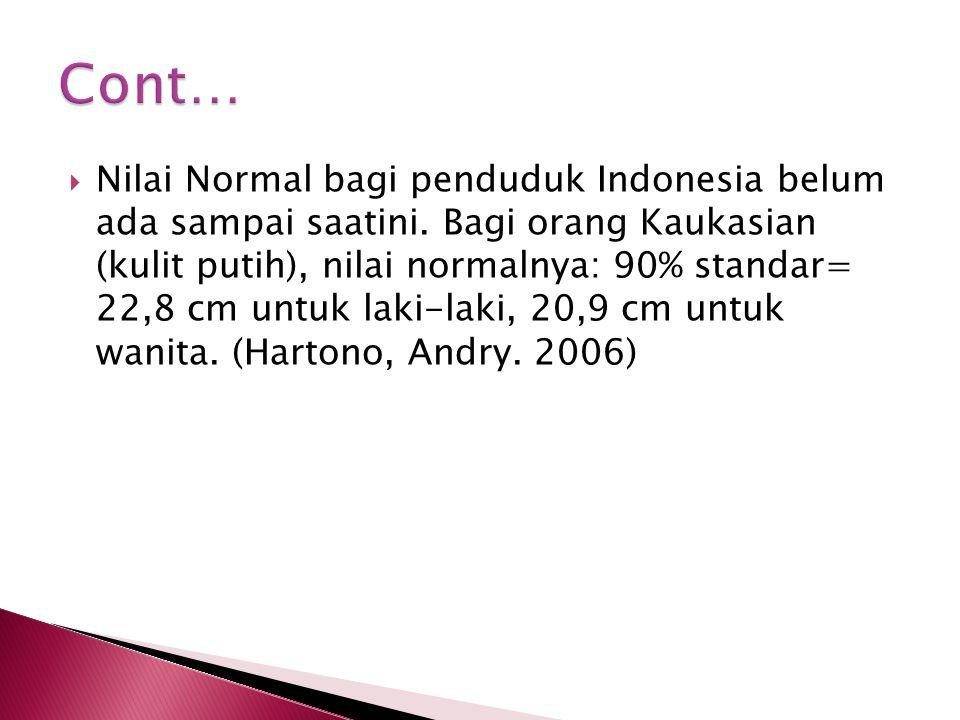  Nilai Normal bagi penduduk Indonesia belum ada sampai saatini. Bagi orang Kaukasian (kulit putih), nilai normalnya: 90% standar= 22,8 cm untuk laki-