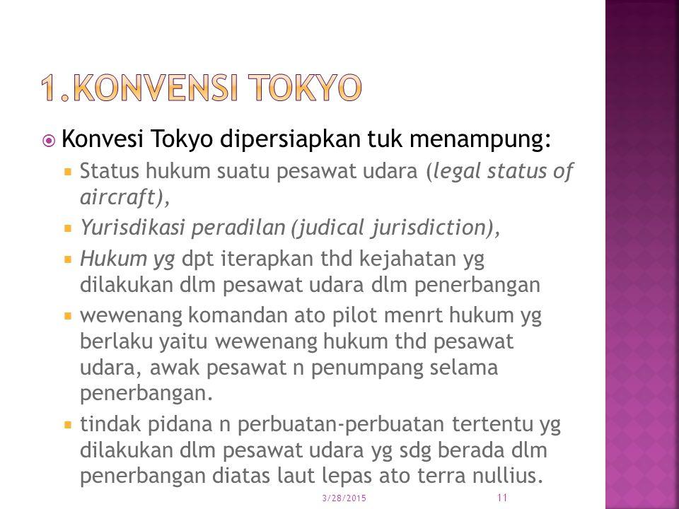  Konvesi Tokyo dipersiapkan tuk menampung:  Status hukum suatu pesawat udara (legal status of aircraft),  Yurisdikasi peradilan (judical jurisdicti