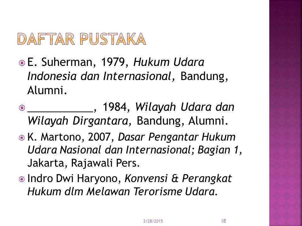  E. Suherman, 1979, Hukum Udara Indonesia dan Internasional, Bandung, Alumni.  ___________, 1984, Wilayah Udara dan Wilayah Dirgantara, Bandung, Alu