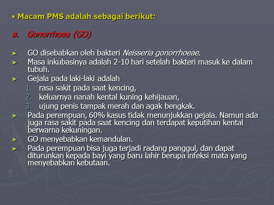 Macam PMS adalah sebagai berikut: Macam PMS adalah sebagai berikut: a. Gonorrhoea (GO) a. Gonorrhoea (GO) ► GO disebabkan oleh bakteri Neisseria gonor