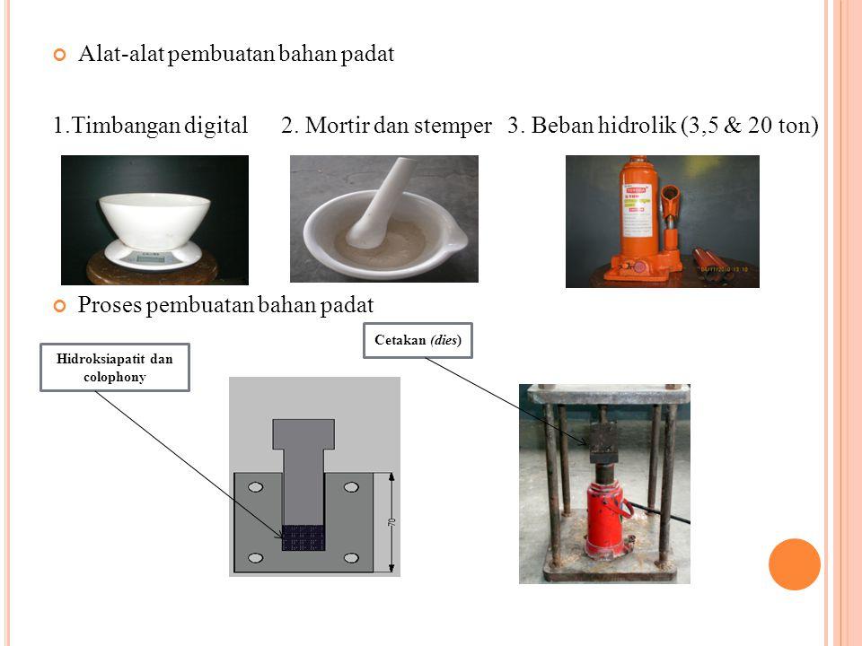 Alat-alat pembuatan bahan padat 1.Timbangan digital 2. Mortir dan stemper 3. Beban hidrolik (3,5 & 20 ton) Proses pembuatan bahan padat Hidroksiapatit