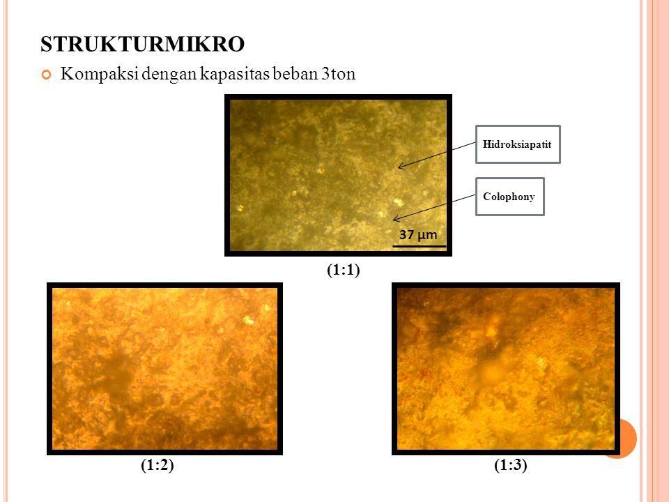 STRUKTURMIKRO Kompaksi dengan kapasitas beban 3ton (1:1) (1:2) (1:3) 37 µm Colophony Hidroksiapatit