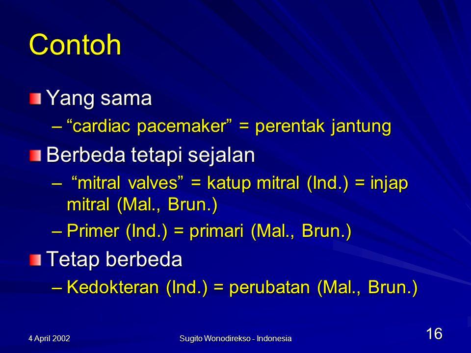 4 April 2002 Sugito Wonodirekso - Indonesia 16 Contoh Yang sama – cardiac pacemaker = perentak jantung Berbeda tetapi sejalan – mitral valves = katup mitral (Ind.) = injap mitral (Mal., Brun.) –Primer (Ind.) = primari (Mal., Brun.) Tetap berbeda –Kedokteran (Ind.) = perubatan (Mal., Brun.)