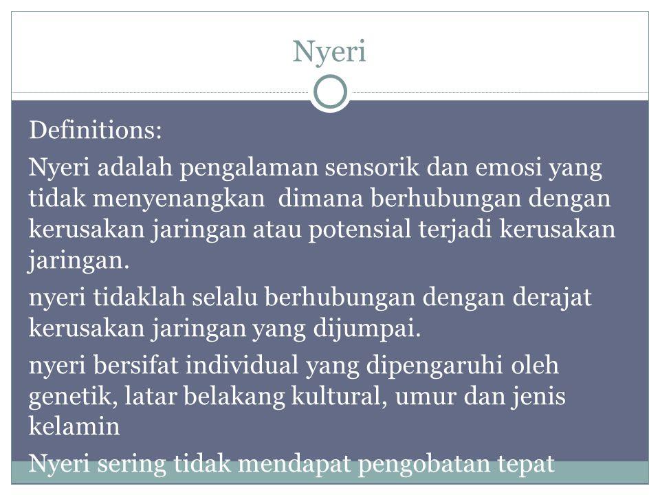 Nyeri Definitions: Nyeri adalah pengalaman sensorik dan emosi yang tidak menyenangkan dimana berhubungan dengan kerusakan jaringan atau potensial terj