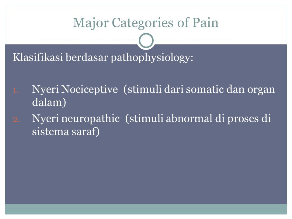 Major Categories of Pain Klasifikasi berdasar pathophysiology: 1.