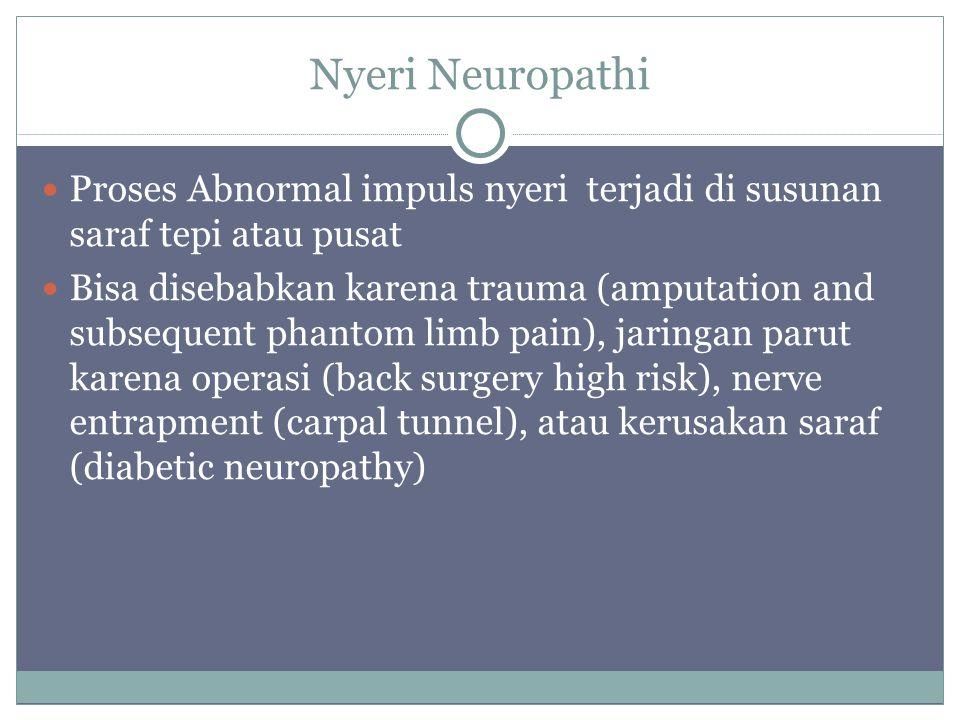 Nyeri Neuropathi Proses Abnormal impuls nyeri terjadi di susunan saraf tepi atau pusat Bisa disebabkan karena trauma (amputation and subsequent phanto