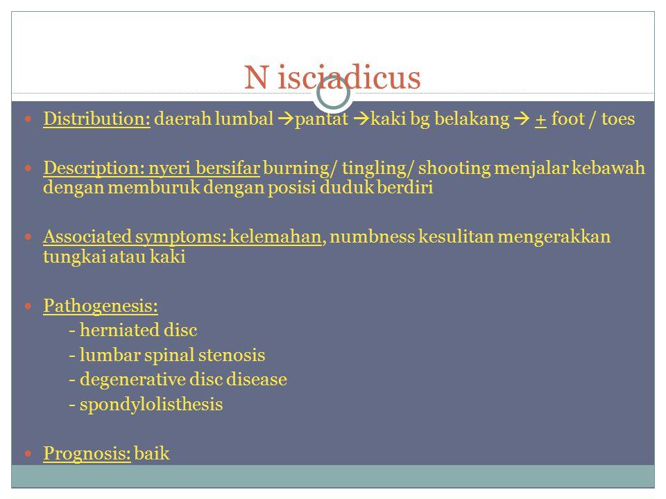 N isciadicus Distribution: daerah lumbal  pantat  kaki bg belakang  + foot / toes Description: nyeri bersifar burning/ tingling/ shooting menjalar kebawah dengan memburuk dengan posisi duduk berdiri Associated symptoms: kelemahan, numbness kesulitan mengerakkan tungkai atau kaki Pathogenesis: - herniated disc - lumbar spinal stenosis - degenerative disc disease - spondylolisthesis Prognosis: baik