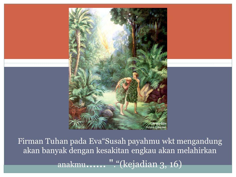 Firman Tuhan pada Eva Susah payahmu wkt mengandung akan banyak dengan kesakitan engkau akan melahirkan anakmu …… . (kejadian 3, 16)