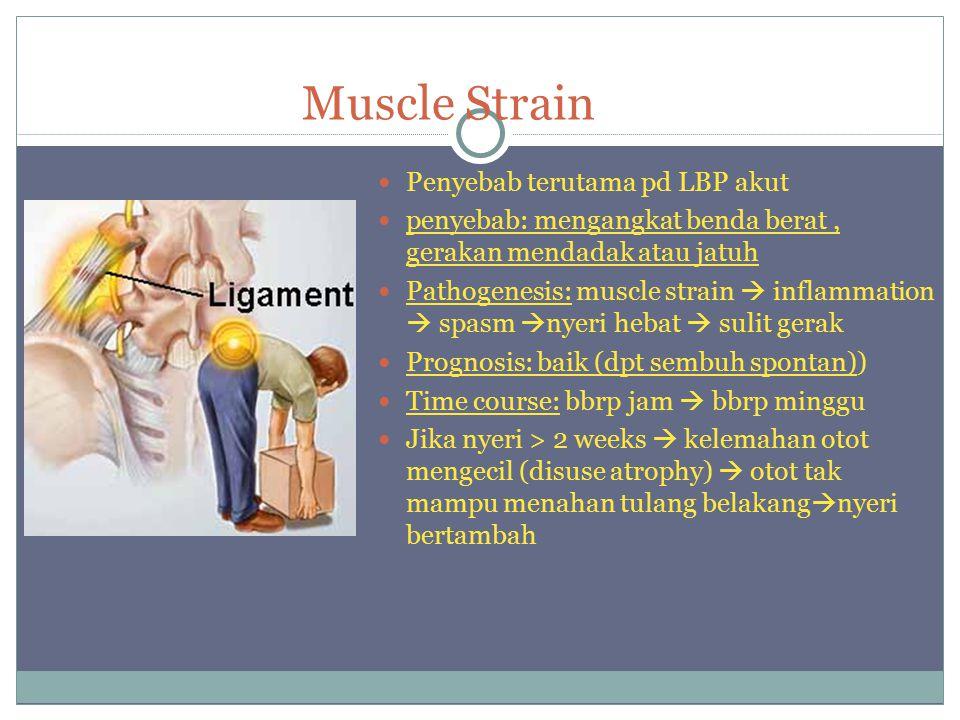 Muscle Strain Penyebab terutama pd LBP akut penyebab: mengangkat benda berat, gerakan mendadak atau jatuh Pathogenesis: muscle strain  inflammation  spasm  nyeri hebat  sulit gerak Prognosis: baik (dpt sembuh spontan)) Time course: bbrp jam  bbrp minggu Jika nyeri > 2 weeks  kelemahan otot mengecil (disuse atrophy)  otot tak mampu menahan tulang belakang  nyeri bertambah