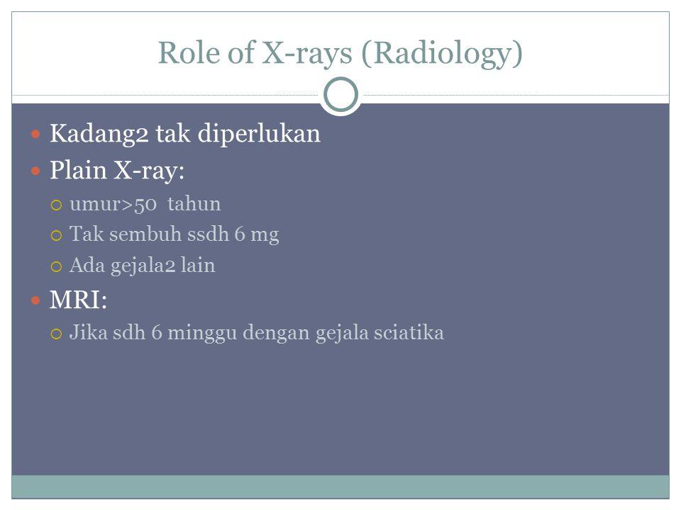 Role of X-rays (Radiology) Kadang2 tak diperlukan Plain X-ray:  umur>50 tahun  Tak sembuh ssdh 6 mg  Ada gejala2 lain MRI:  Jika sdh 6 minggu dengan gejala sciatika