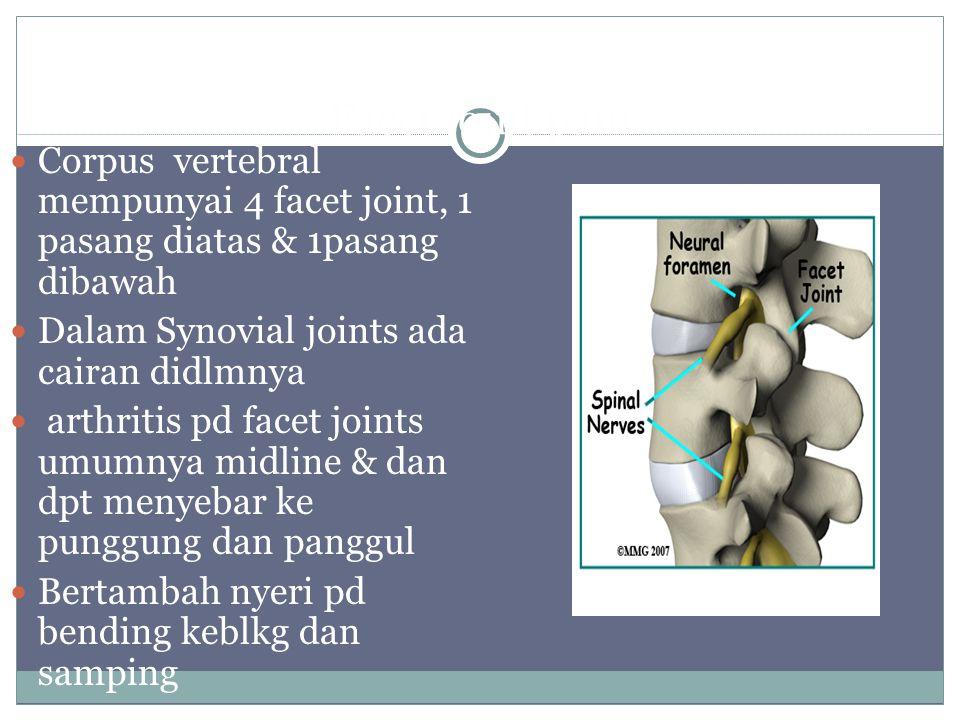 Facet joint pain Corpus vertebral mempunyai 4 facet joint, 1 pasang diatas & 1pasang dibawah Dalam Synovial joints ada cairan didlmnya arthritis pd facet joints umumnya midline & dan dpt menyebar ke punggung dan panggul Bertambah nyeri pd bending keblkg dan samping