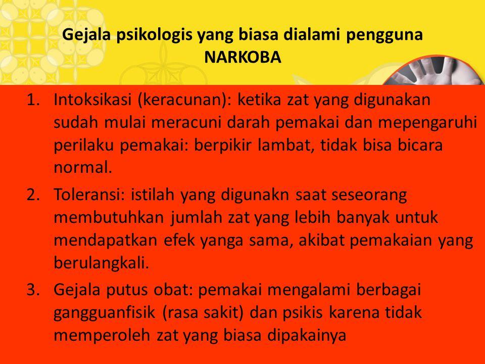 Gejala psikologis yang biasa dialami pengguna NARKOBA 1.Intoksikasi (keracunan): ketika zat yang digunakan sudah mulai meracuni darah pemakai dan mepe