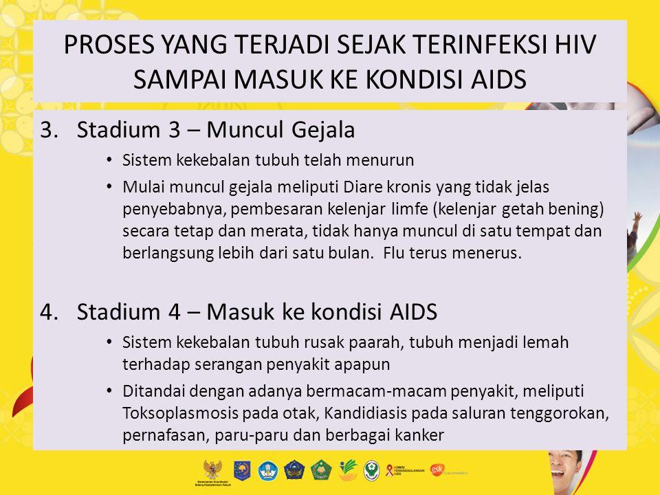 PROSES YANG TERJADI SEJAK TERINFEKSI HIV SAMPAI MASUK KE KONDISI AIDS 3. Stadium 3 – Muncul Gejala Sistem kekebalan tubuh telah menurun Mulai muncul g