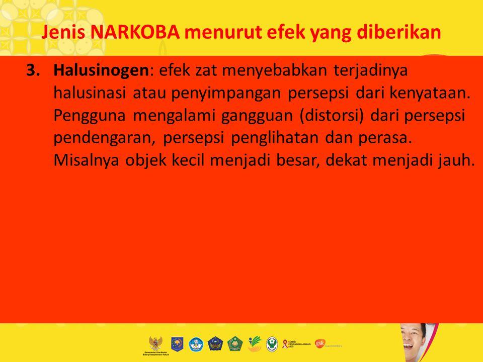 Jenis NARKOBA menurut efek yang diberikan 3.Halusinogen: efek zat menyebabkan terjadinya halusinasi atau penyimpangan persepsi dari kenyataan. Penggun