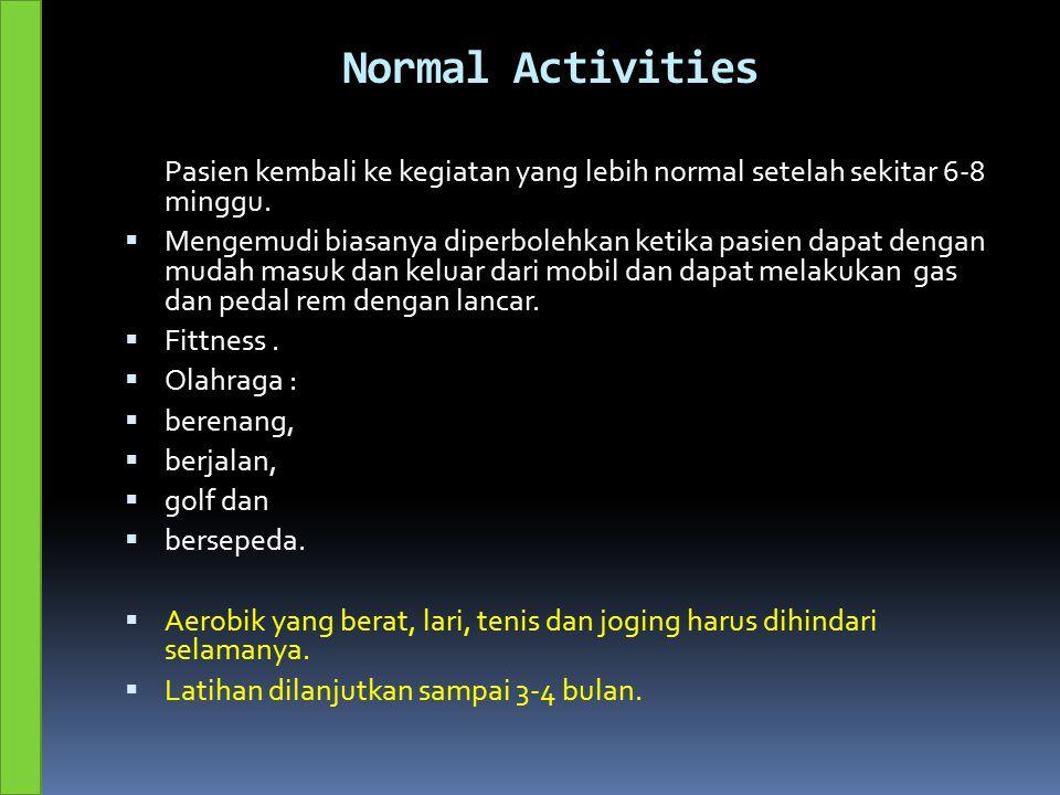 Normal Activities Pasien kembali ke kegiatan yang lebih normal setelah sekitar 6-8 minggu.  Mengemudi biasanya diperbolehkan ketika pasien dapat deng