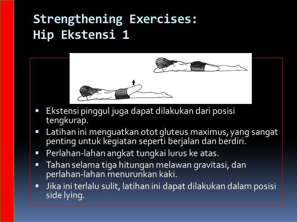 Strengthening Exercises: Hip Ekstensi 1  Ekstensi pinggul juga dapat dilakukan dari posisi tengkurap.  Latihan ini menguatkan otot gluteus maximus,