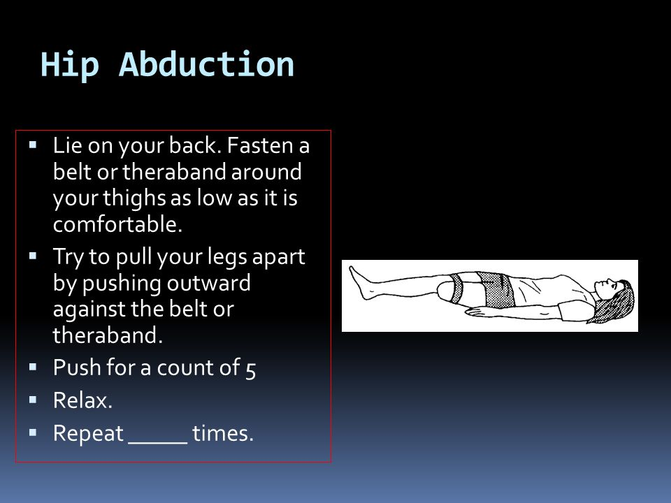 Hip Abduction  Lie on your back. Fasten a belt or theraband around your thighs as low as it is comfortable.  Try to pull your legs apart by pushing