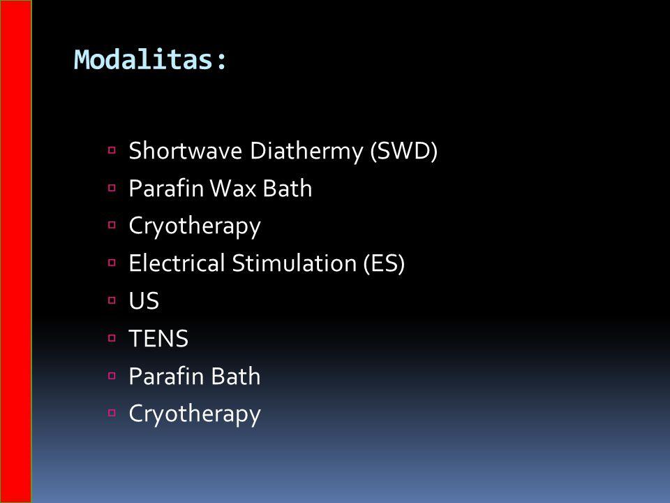 Modalitas:  Shortwave Diathermy (SWD)  Parafin Wax Bath  Cryotherapy  Electrical Stimulation (ES)  US  TENS  Parafin Bath  Cryotherapy