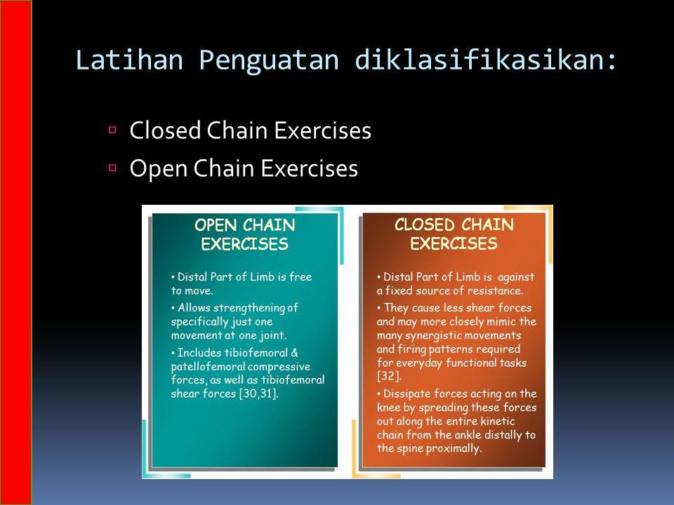 Latihan Penguatan diklasifikasikan:  Closed Chain Exercises  Open Chain Exercises