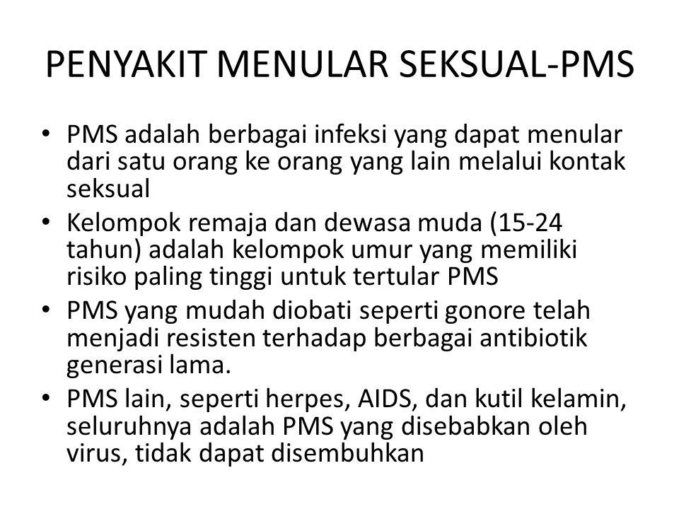 PENYAKIT MENULAR SEKSUAL-PMS PMS adalah berbagai infeksi yang dapat menular dari satu orang ke orang yang lain melalui kontak seksual Kelompok remaja