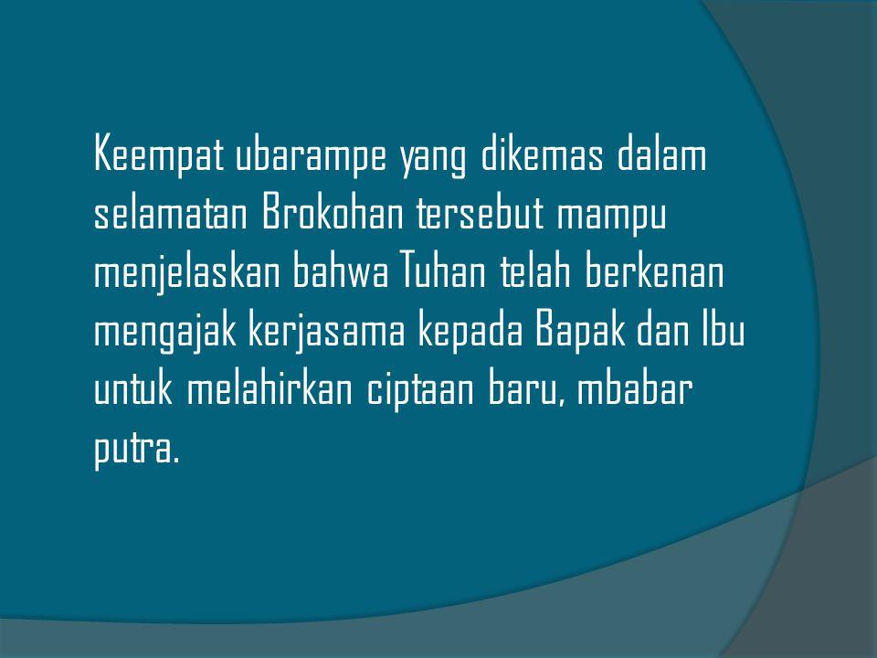Masyarakat Jawa mempunyai beberapa upacara adat untuk menyambut kelahiran bayi : 1.