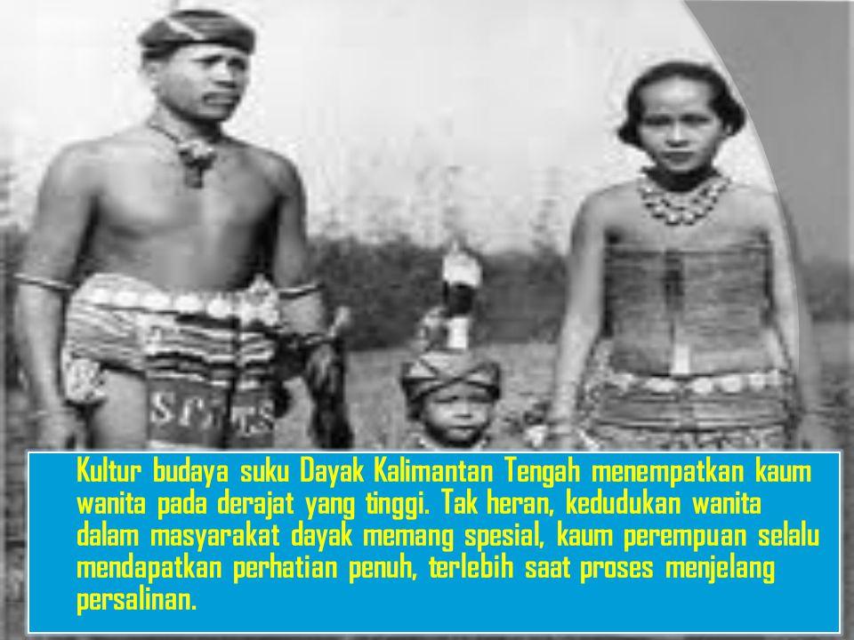 Kultur budaya suku Dayak Kalimantan Tengah menempatkan kaum wanita pada derajat yang tinggi. Tak heran, kedudukan wanita dalam masyarakat dayak memang