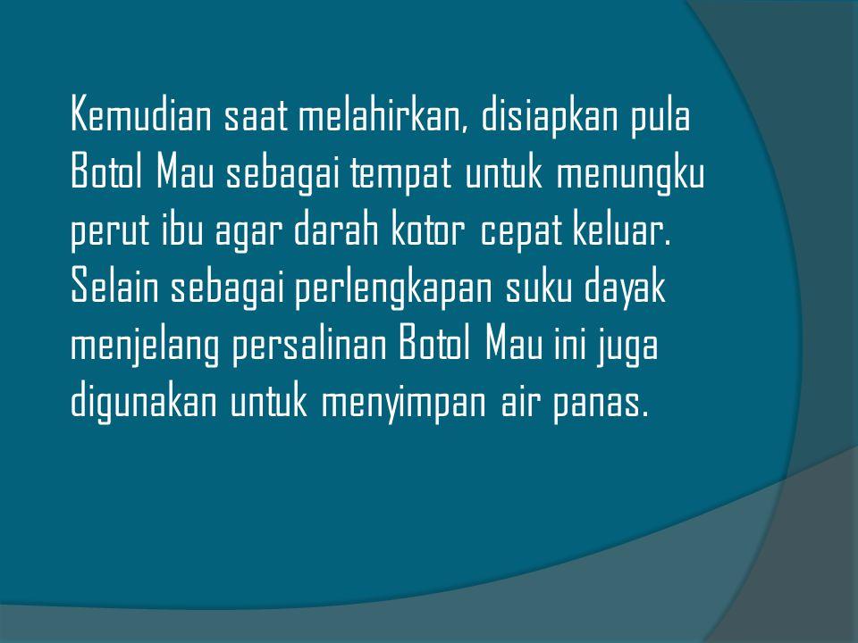 Keluarga yang melahirkan juga perlu menyiapkan Kain Bahalai (Jarik dalam bahasa Jawa) dengan lapisan yang berbeda.