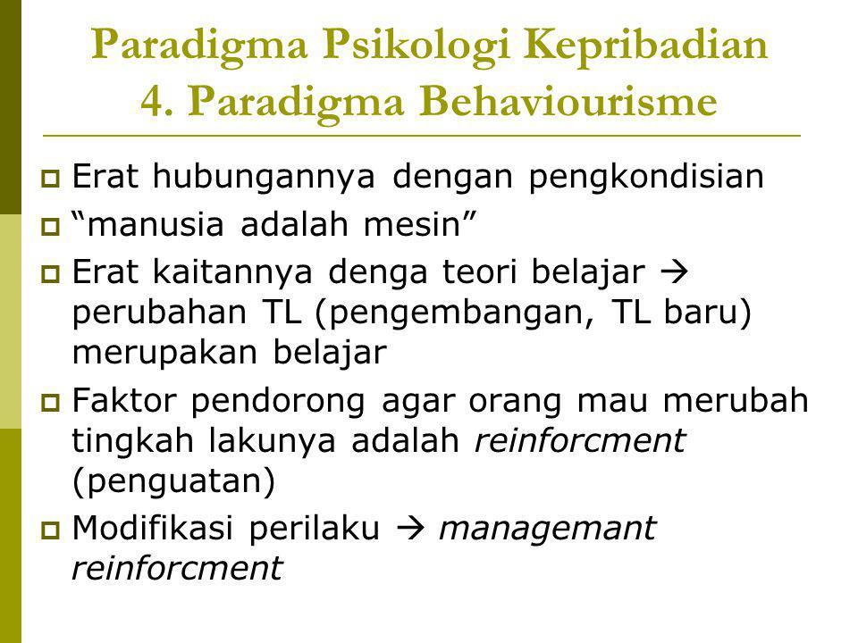 "Paradigma Psikologi Kepribadian 4. Paradigma Behaviourisme  Erat hubungannya dengan pengkondisian  ""manusia adalah mesin""  Erat kaitannya denga teo"