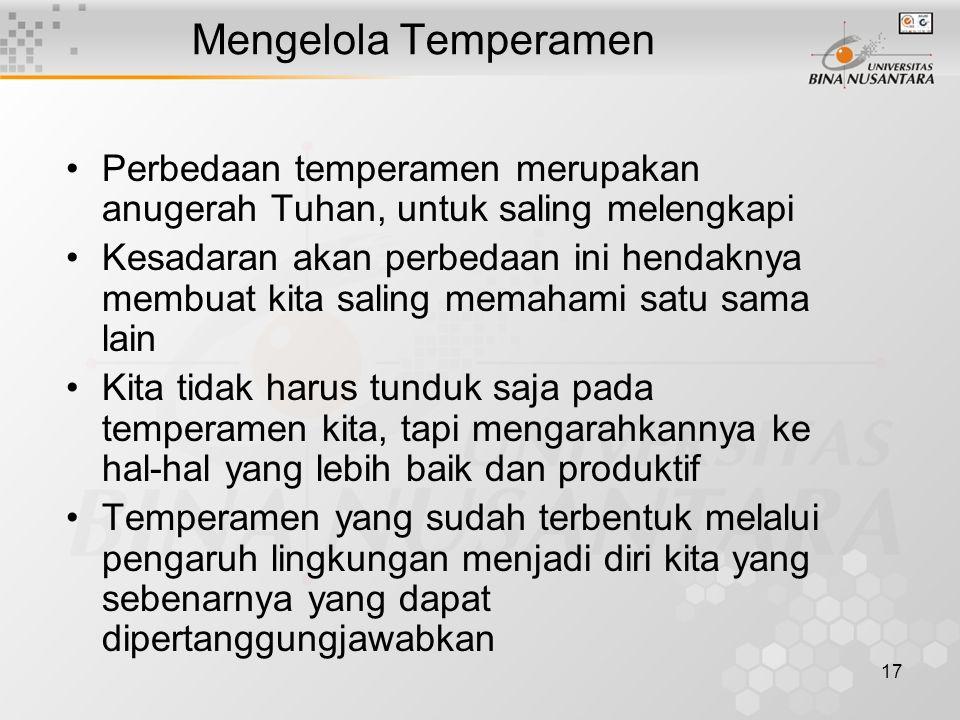 17 Mengelola Temperamen Perbedaan temperamen merupakan anugerah Tuhan, untuk saling melengkapi Kesadaran akan perbedaan ini hendaknya membuat kita sal