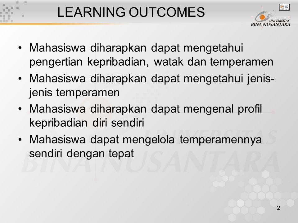2 LEARNING OUTCOMES Mahasiswa diharapkan dapat mengetahui pengertian kepribadian, watak dan temperamen Mahasiswa diharapkan dapat mengetahui jenis- je