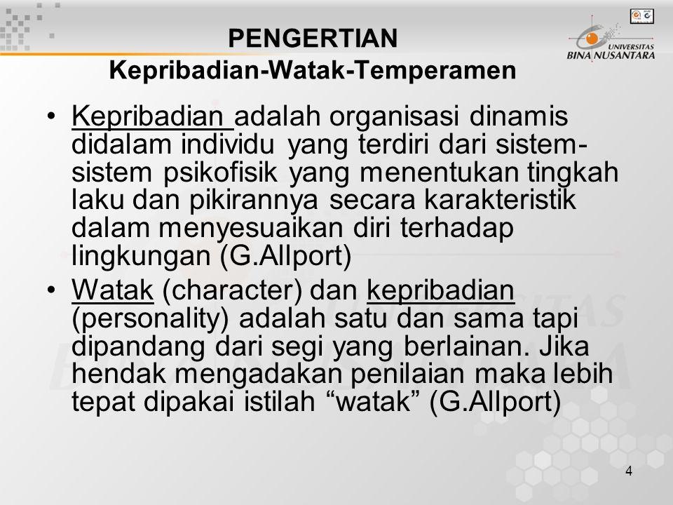 5 Temperamen adalah gejala katakteristik yang bergantung pada faktor konstitusional dan karenanya terutama berasal dari keturunan (G.Allport) Kepribadian, watak, temperamen berkaitan satu sama lain, ketiganya menyangkut diri seseorang.