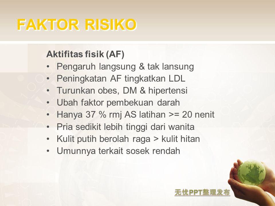 FAKTOR RISIKO Aktifitas fisik (AF) Pengaruh langsung & tak lansung Peningkatan AF tingkatkan LDL Turunkan obes, DM & hipertensi Ubah faktor pembekuan