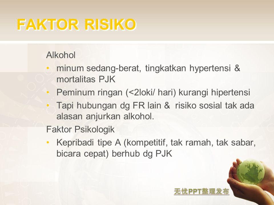 FAKTOR RISIKO Alkohol minum sedang-berat, tingkatkan hypertensi & mortalitas PJK Peminum ringan (<2loki/ hari) kurangi hipertensi Tapi hubungan dg FR