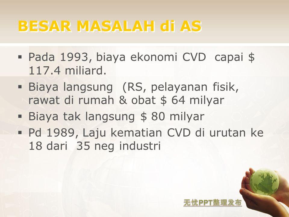 BESAR MASALAH di AS  Pada 1993, biaya ekonomi CVD capai $ 117.4 miliard.