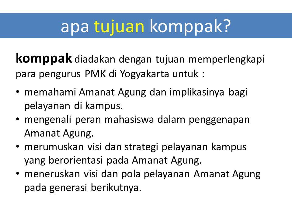 apa tujuan komppak? komppak diadakan dengan tujuan memperlengkapi para pengurus PMK di Yogyakarta untuk : memahami Amanat Agung dan implikasinya bagi