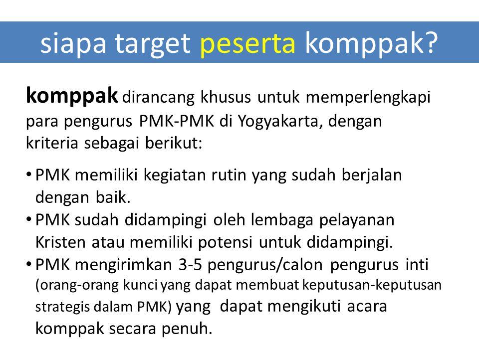 siapa target peserta komppak? komppak dirancang khusus untuk memperlengkapi para pengurus PMK-PMK di Yogyakarta, dengan kriteria sebagai berikut: PMK