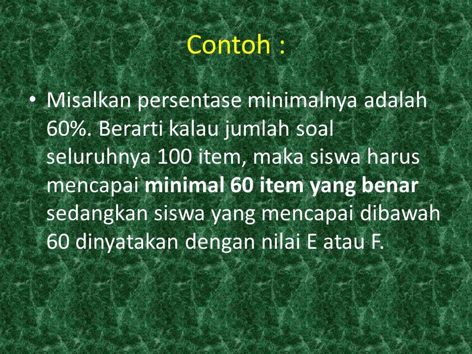 Contoh : Misalkan persentase minimalnya adalah 60%. Berarti kalau jumlah soal seluruhnya 100 item, maka siswa harus mencapai minimal 60 item yang bena