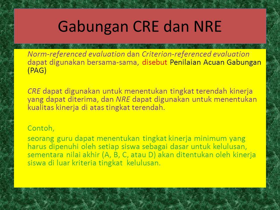 Gabungan CRE dan NRE Norm-referenced evaluation dan Criterion-referenced evaluation dapat digunakan bersama-sama, disebut Penilaian Acuan Gabungan (PA