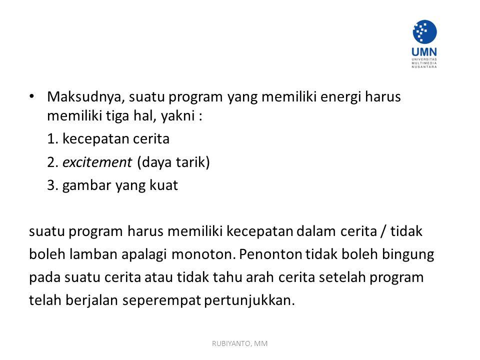 Maksudnya, suatu program yang memiliki energi harus memiliki tiga hal, yakni : 1.