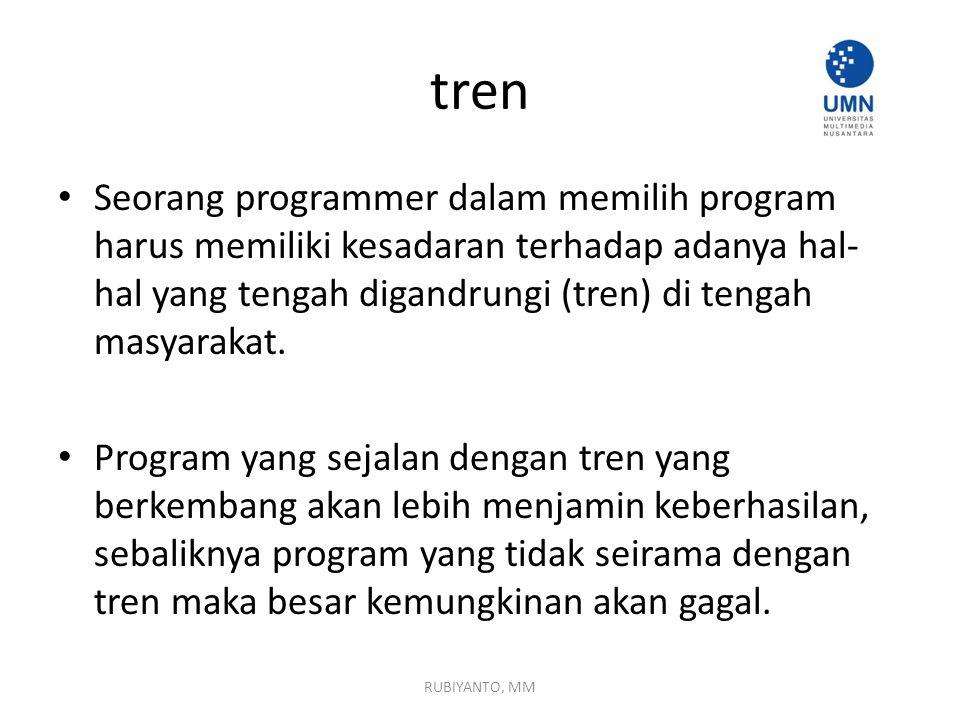 tren Seorang programmer dalam memilih program harus memiliki kesadaran terhadap adanya hal- hal yang tengah digandrungi (tren) di tengah masyarakat.