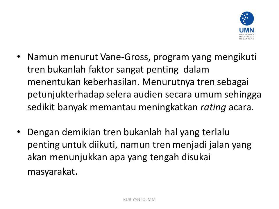 Namun menurut Vane-Gross, program yang mengikuti tren bukanlah faktor sangat penting dalam menentukan keberhasilan.