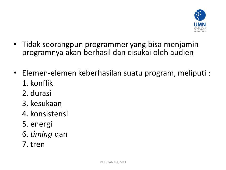 Tidak seorangpun programmer yang bisa menjamin programnya akan berhasil dan disukai oleh audien Elemen-elemen keberhasilan suatu program, meliputi : 1.