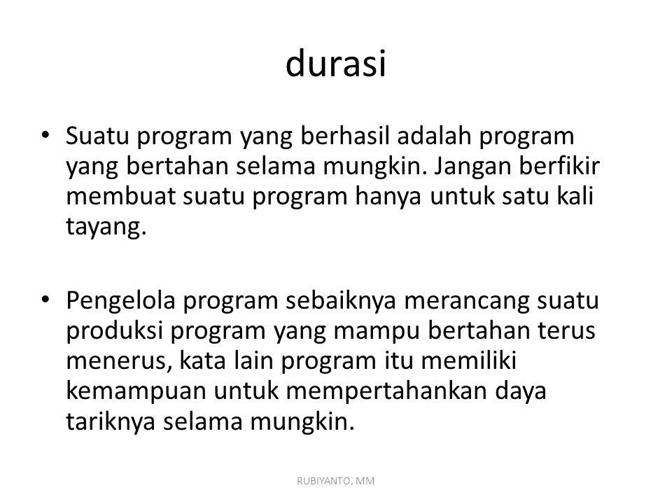 Jadi ditinjau dari durasinya atau lamanya penayangan program; ada program yang bertahan lama (durable program) dan program yang tidak dapat bertahan lama (nondurable program).