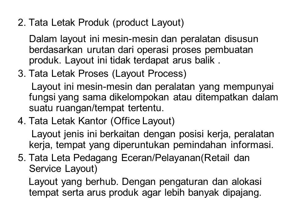 2. Tata Letak Produk (product Layout) Dalam layout ini mesin-mesin dan peralatan disusun berdasarkan urutan dari operasi proses pembuatan produk. Layo