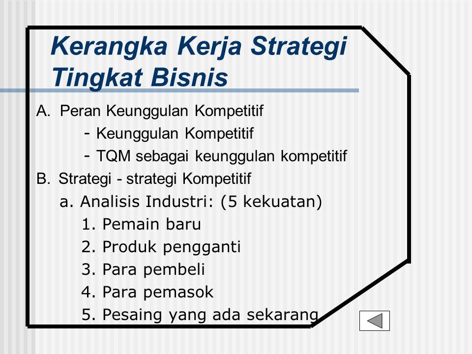 Kerangka Kerja Strategi Tingkat Bisnis A. Peran Keunggulan Kompetitif - Keunggulan Kompetitif - TQM sebagai keunggulan kompetitif B. Strategi - strate
