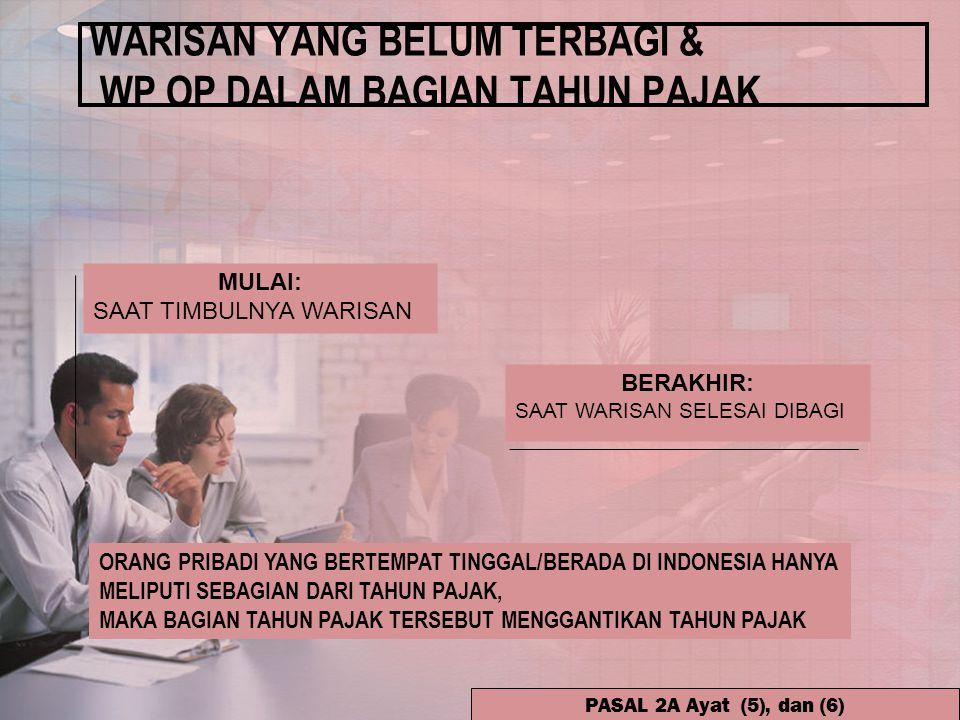 WARISAN YANG BELUM TERBAGI & WP OP DALAM BAGIAN TAHUN PAJAK ORANG PRIBADI YANG BERTEMPAT TINGGAL/BERADA DI INDONESIA HANYA MELIPUTI SEBAGIAN DARI TAHUN PAJAK, MAKA BAGIAN TAHUN PAJAK TERSEBUT MENGGANTIKAN TAHUN PAJAK PASAL 2A Ayat (5), dan (6) MULAI: SAAT TIMBULNYA WARISAN BERAKHIR: SAAT WARISAN SELESAI DIBAGI