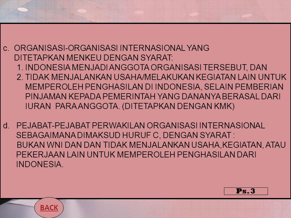 c.ORGANISASI-ORGANISASI INTERNASIONAL YANG DITETAPKAN MENKEU DENGAN SYARAT: 1.