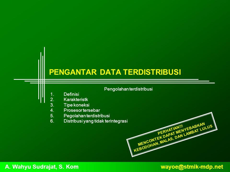 wayoe@stmik-mdp.netA. Wahyu Sudrajat, S. Kom PENGANTAR DATA TERDISTRIBUSI Pengolahan terdistribusi 1.Definisi 2.Karakteristk 3.Tipe koneksi 4.Prosesor