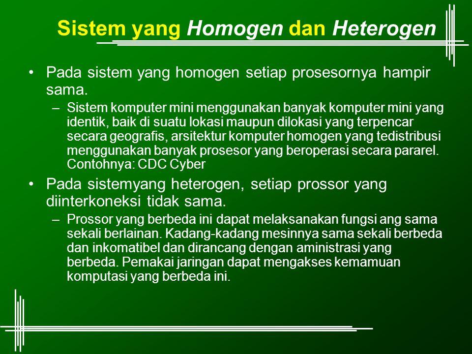 Sistem yang Homogen dan Heterogen Pada sistem yang homogen setiap prosesornya hampir sama. –Sistem komputer mini menggunakan banyak komputer mini yang